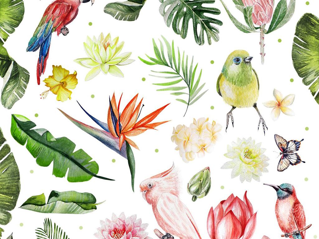 水彩画夏季热带花卉绿叶植物小鸟元素海报请柬设计素材