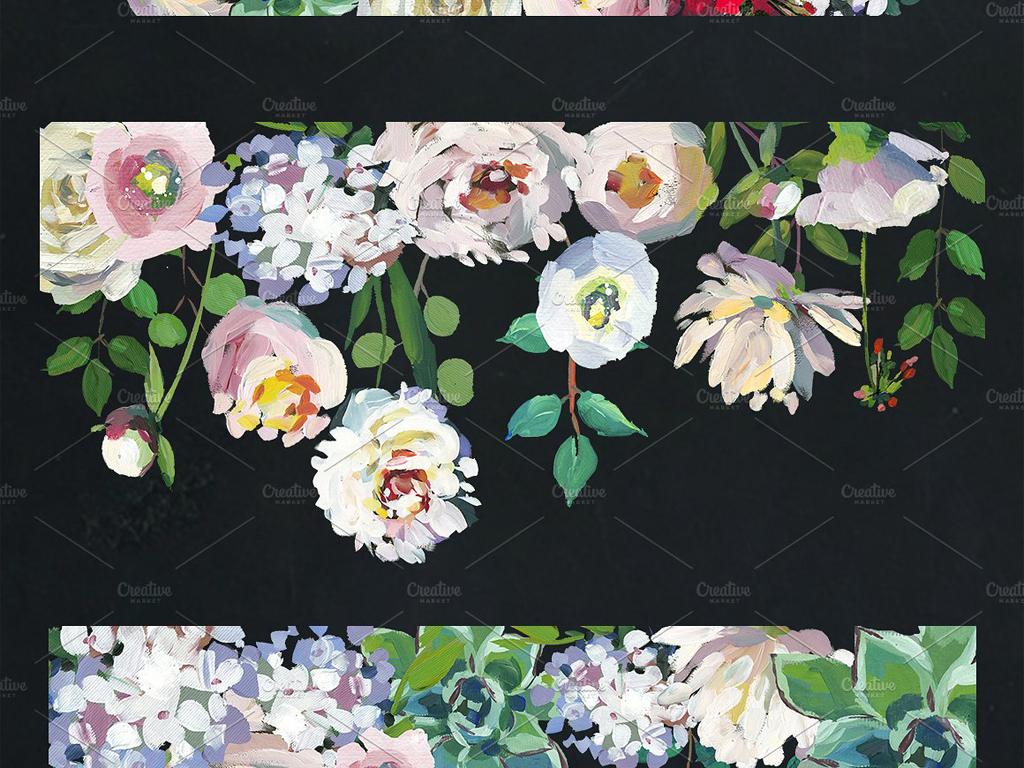 海报电商海报包装请柬婚庆花卉花环手绘人物手绘背景手绘墙手绘背景墙