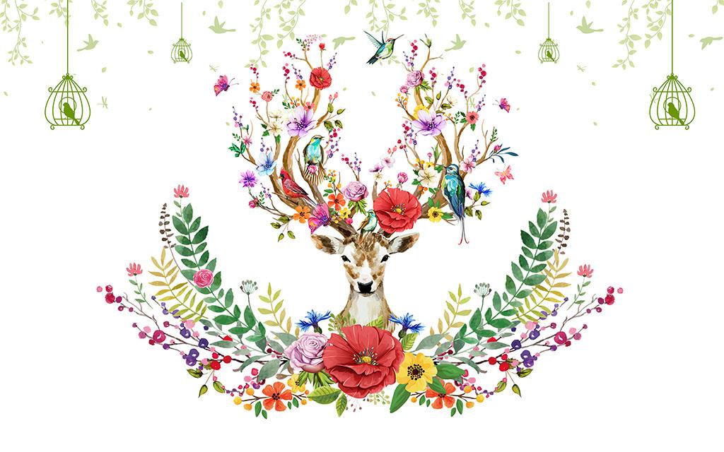 北欧装饰画梅花鹿主题画手绘麋鹿电视墙壁画(图片编号