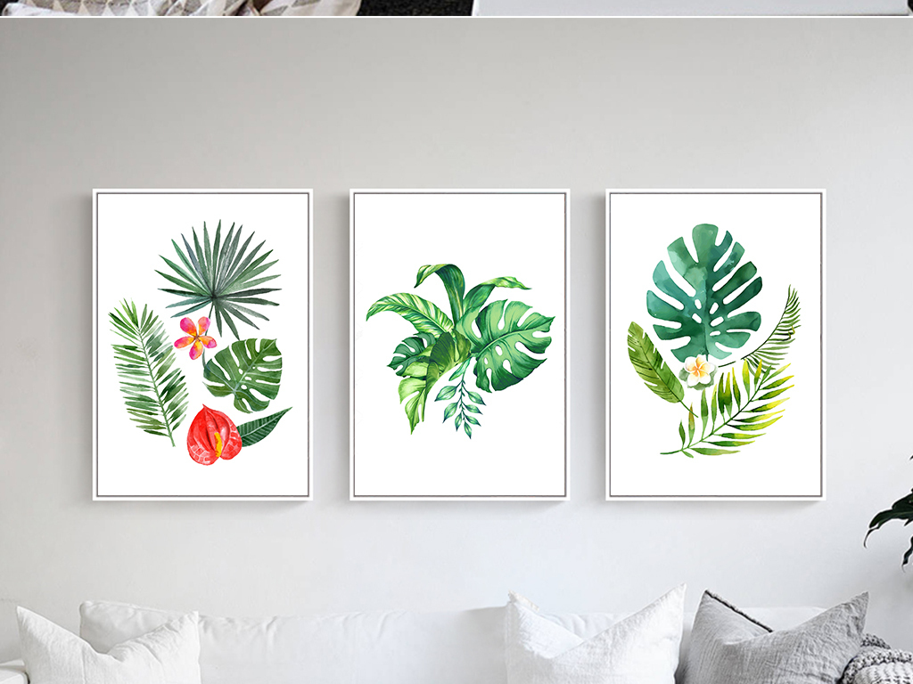 装饰画 北欧装饰画 植物花卉装饰画 > 北欧手绘热带雨林植物叶子装饰
