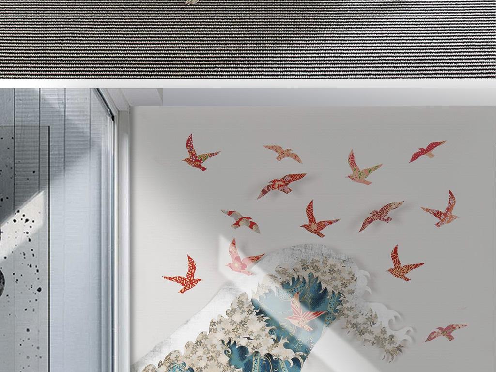 新中式手绘海浪海豚飞鸟背景墙壁画