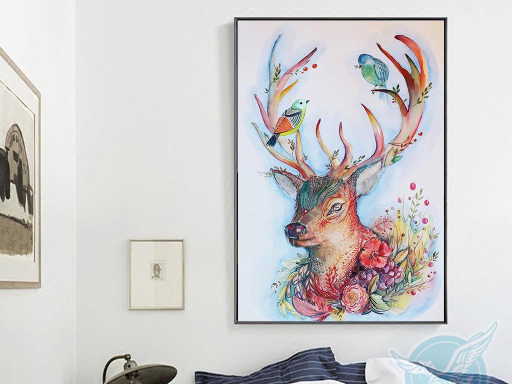欧式创意手绘彩色麋鹿小鸟无框装饰画