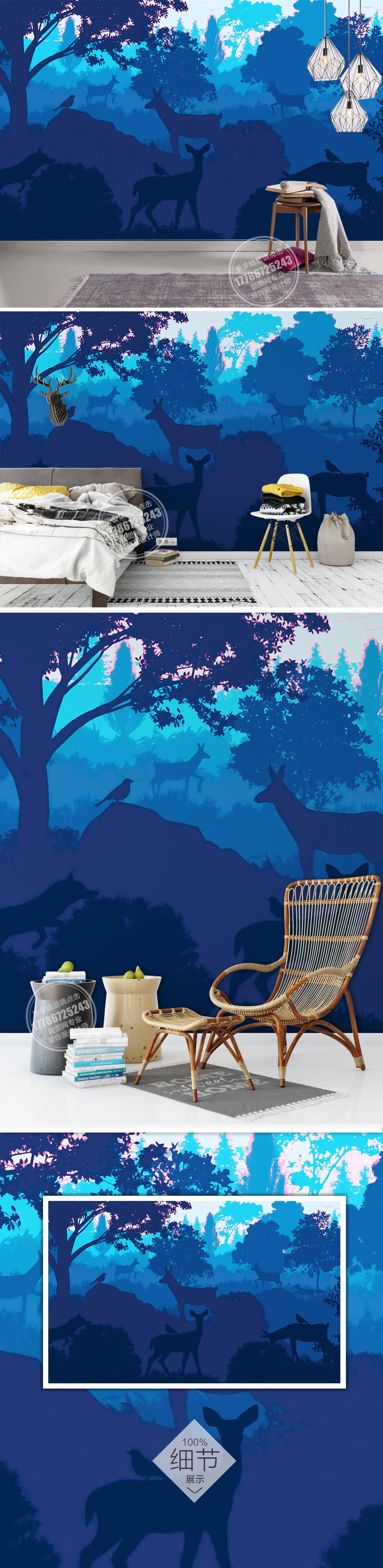 抽象森林麋鹿手绘电视背景墙素材模板