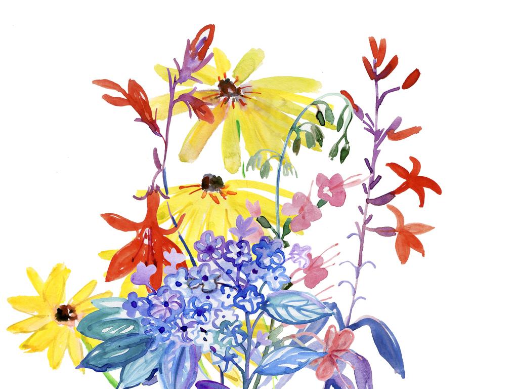 手绘水彩植物花卉 位图, cmyk格式高清大图,使用软件为aicdr矢量图