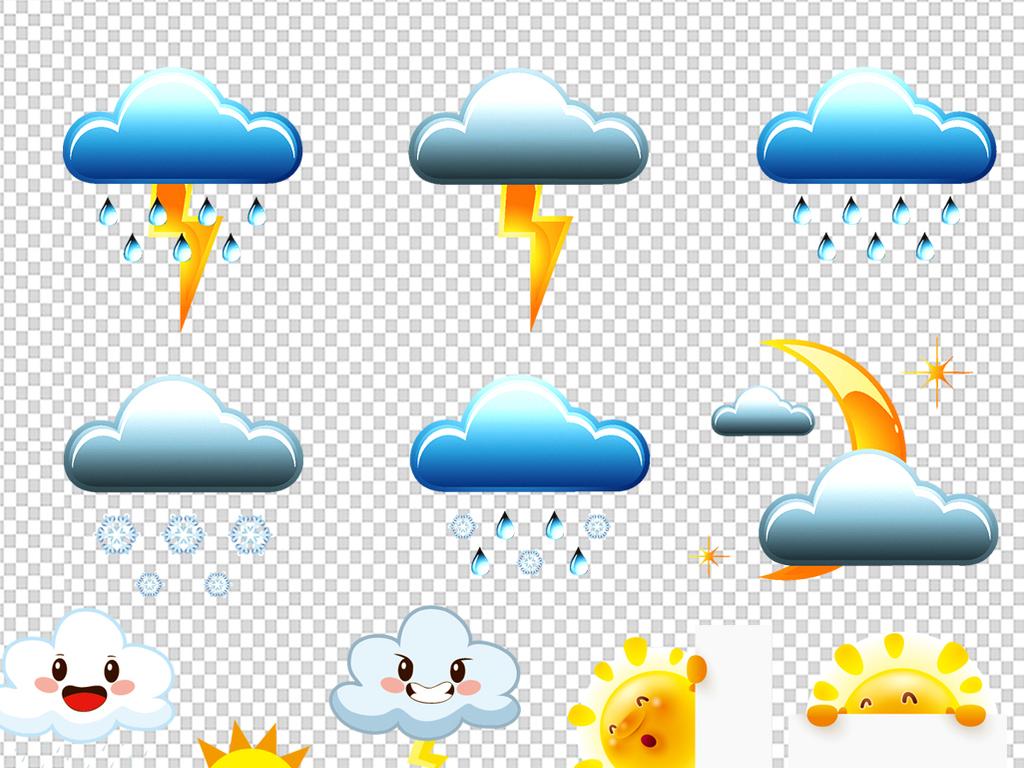 创意可爱卡通手绘云朵太阳天气预报素材下载图片_模板