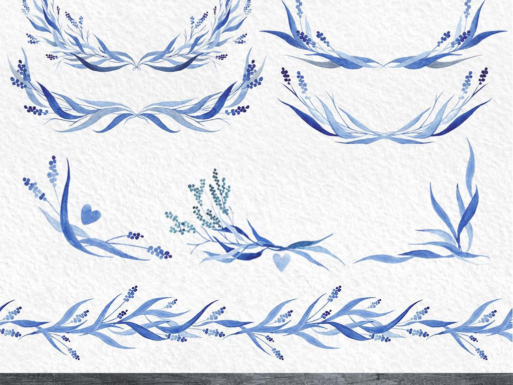水彩画唯美淡雅蓝色系叶子边框插图海报请柬设计素材