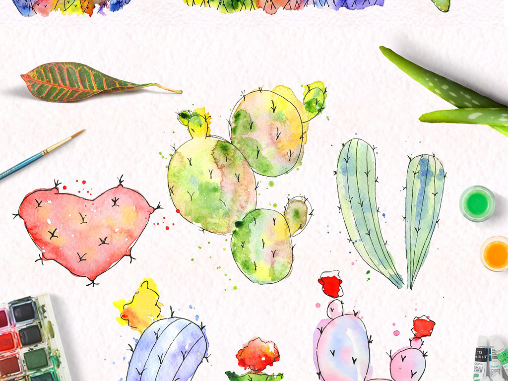 水彩画多肉,仙人球仙人掌,植物插图,墨迹图案,海报请柬卡片设计素材