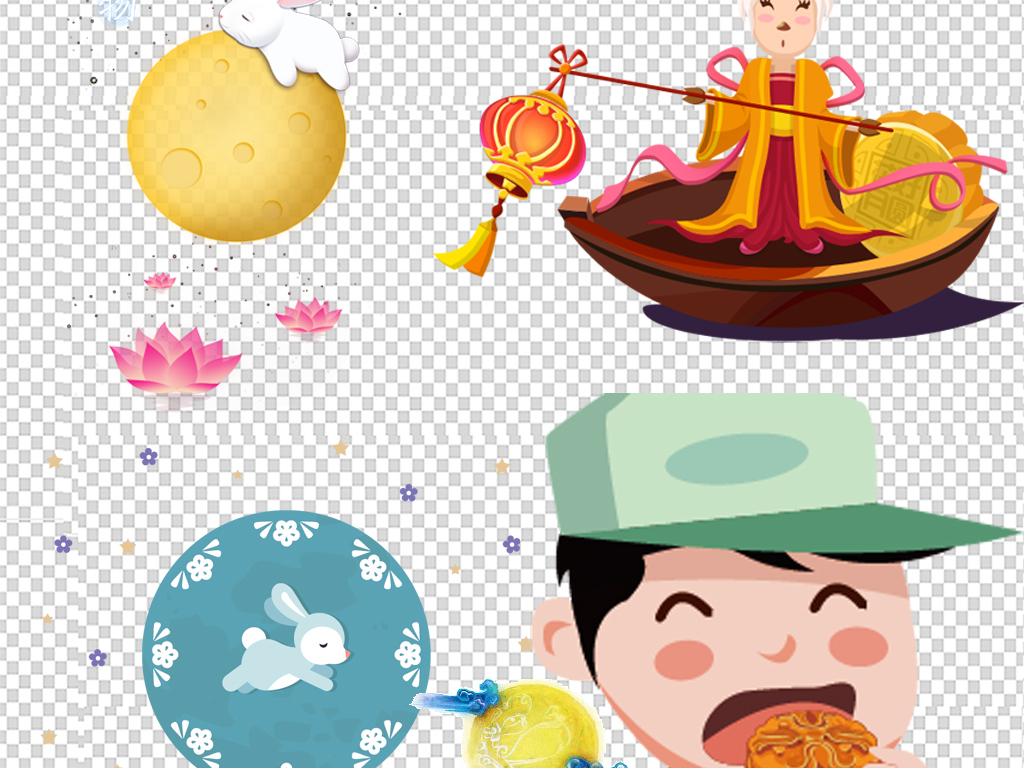 卡通嫦娥中秋节png素材