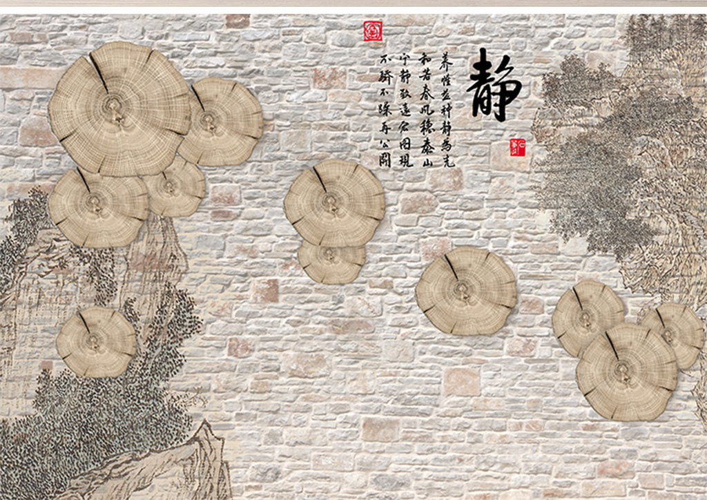 中式禅意静字圆木手绘电视背景墙
