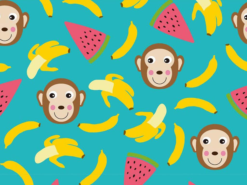 生活元素水果植物植物类猴子野生动物设计面料设计卡通面料面料卡通