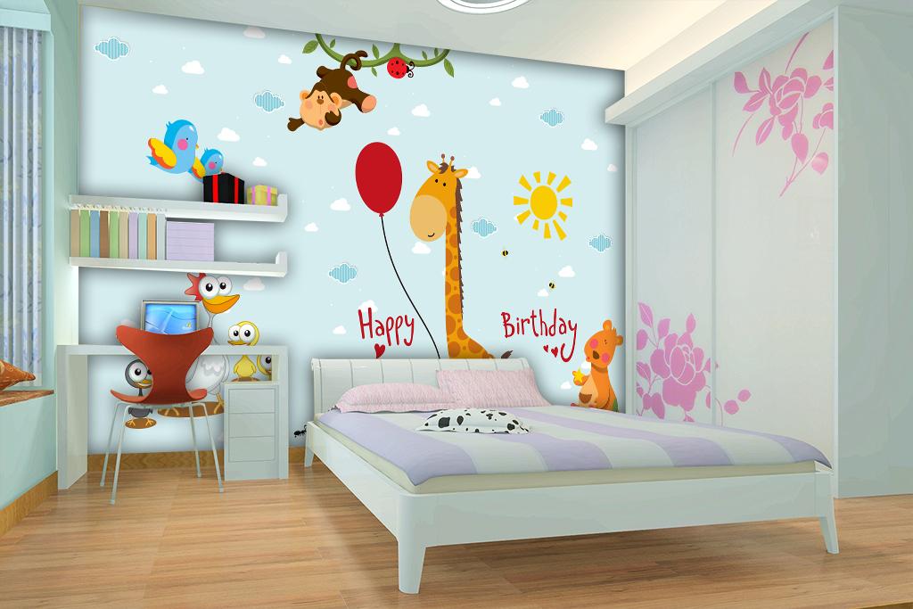 卡通动物儿童卧室背景墙