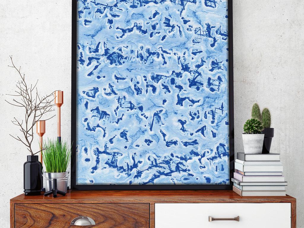 手绘晕染蓝色乐章高清抽象水粉装饰画