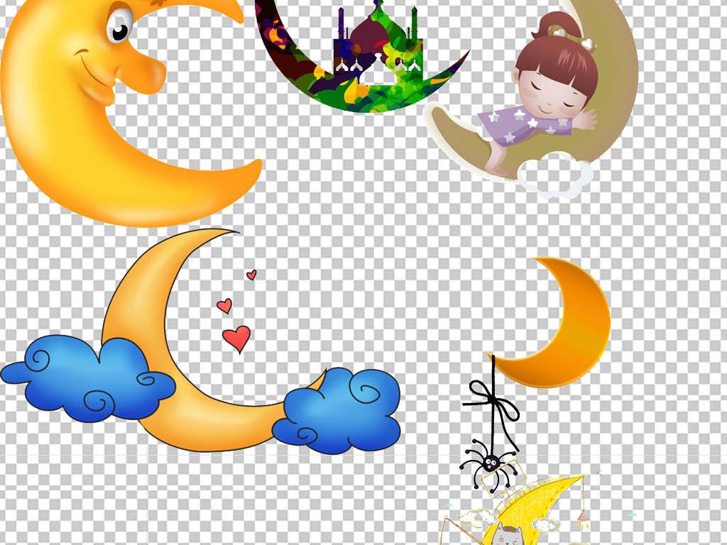 手绘月亮星星睡觉可爱月亮可爱卡通设计素材晚安睡眠卡通可爱半圆月亮