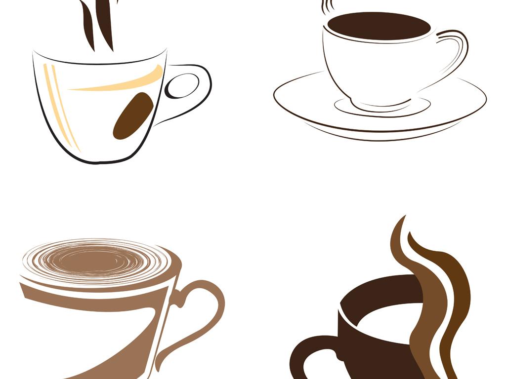 手绘咖啡杯剪影插图矢量素材