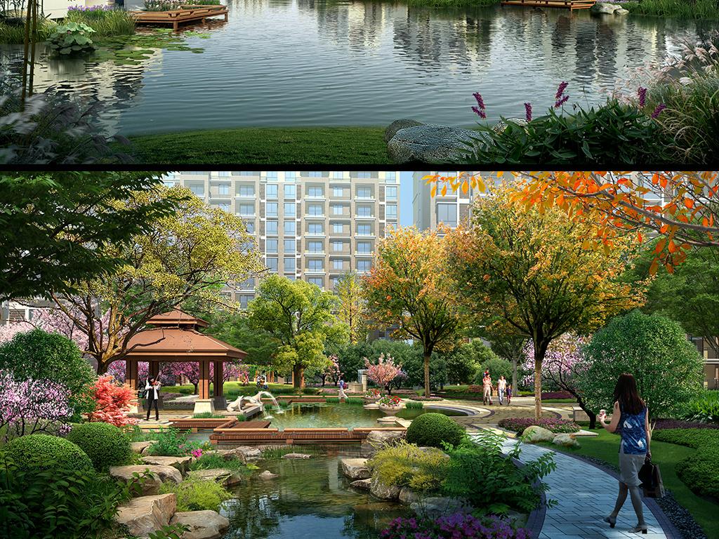 小区滨水绿化景观效果图