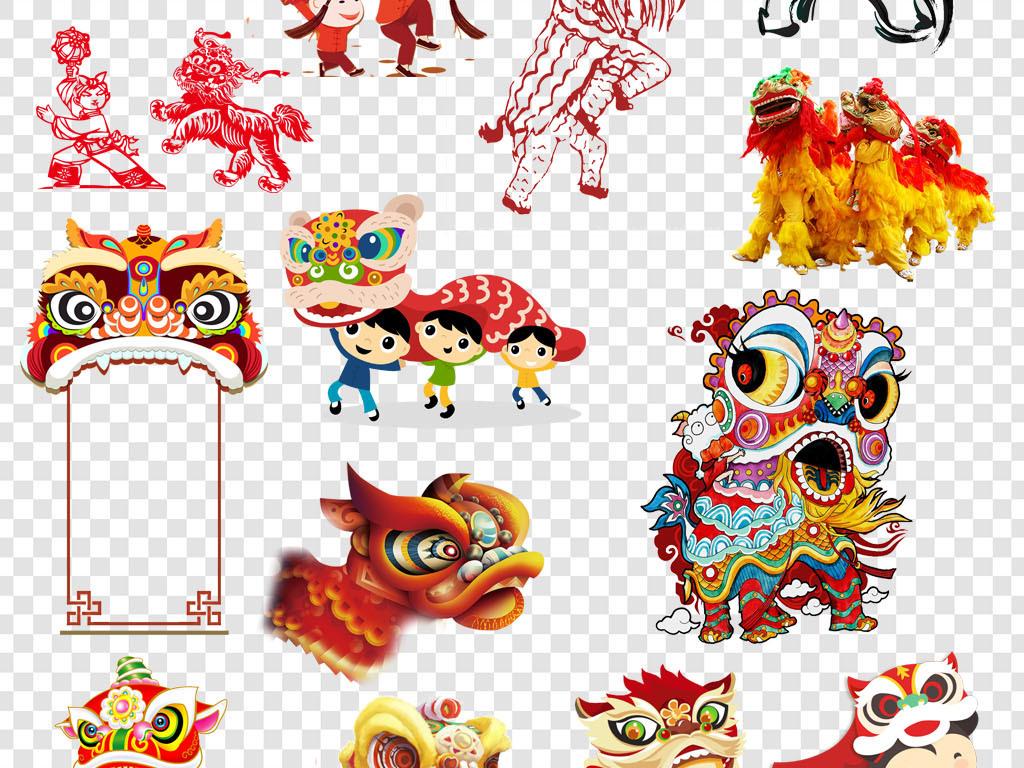 卡通手绘舞狮传统民俗庆祝活动p