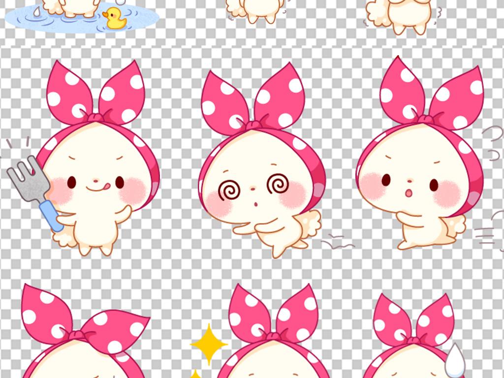 可爱兔子卡通手绘动物免抠图背景