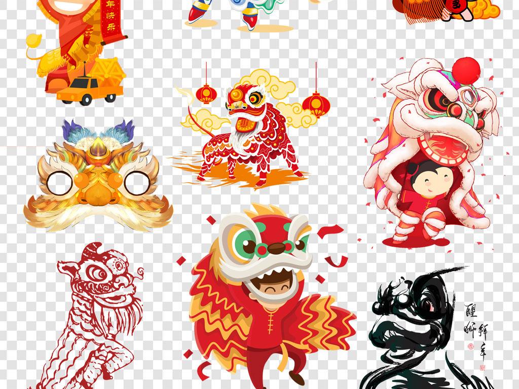 卡通手绘舞狮活动庆典png海报素材