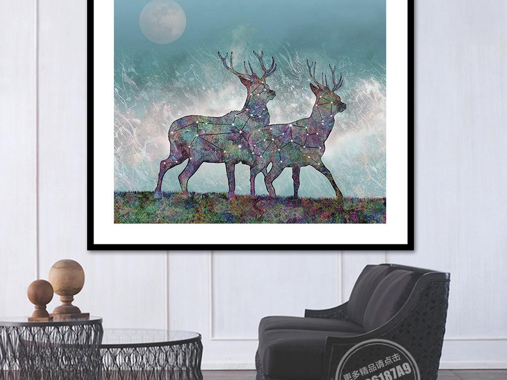 北欧唯美手绘麋鹿电视背景墙
