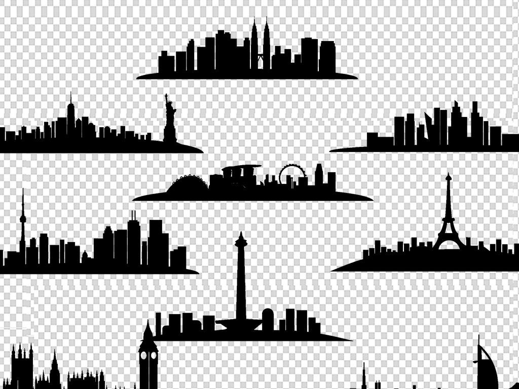 建筑手绘速写素材房屋偏平化卡通小屋大城市剪影城市黑白