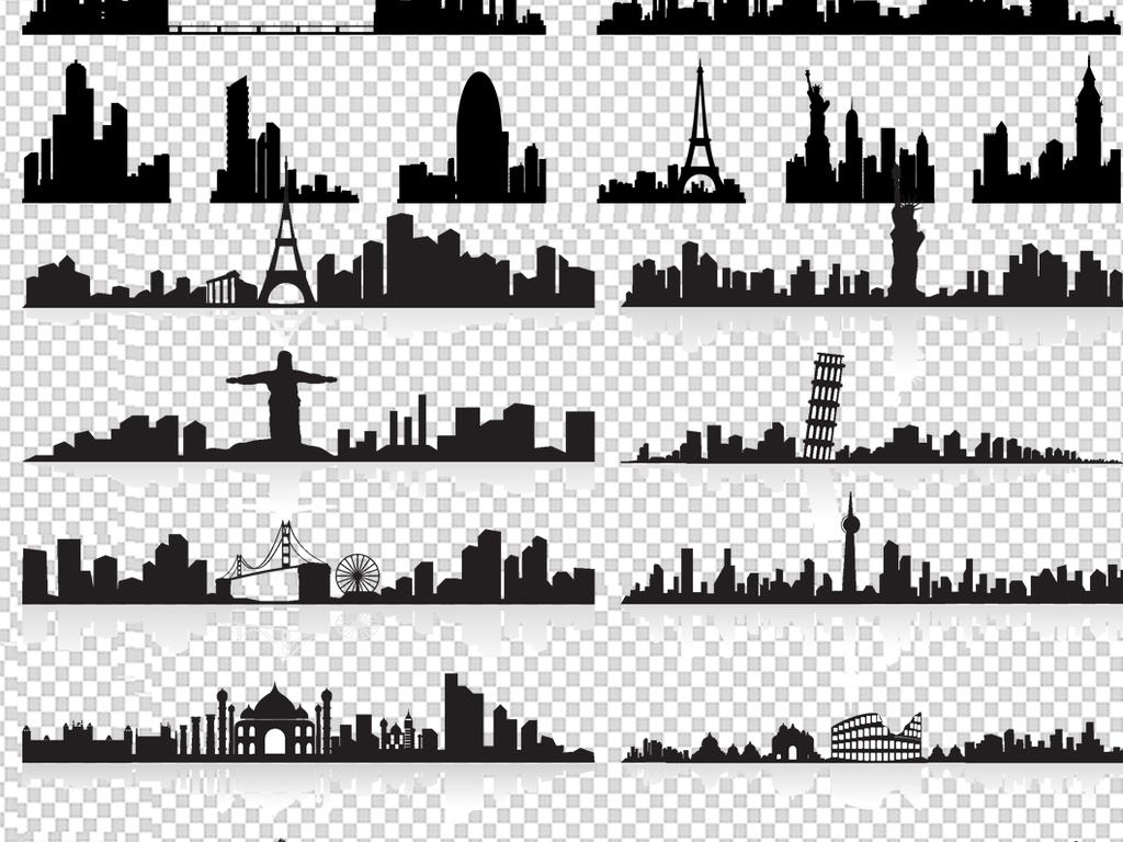 黑白城市建筑房子剪影素材