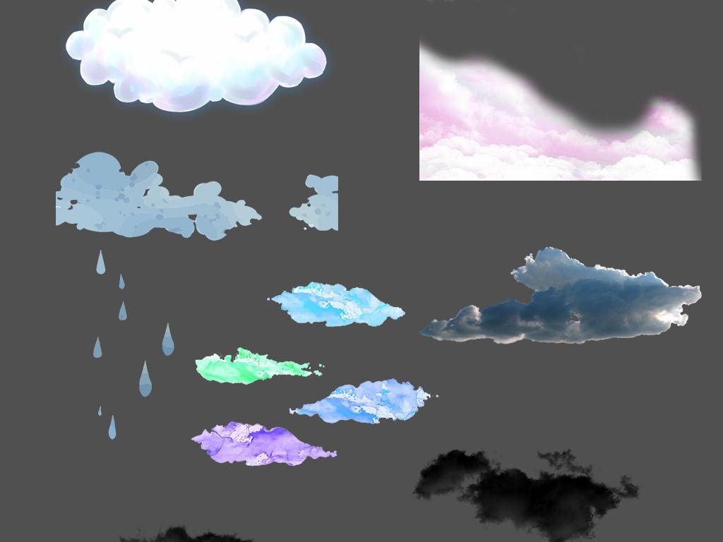 手绘云朵彩色