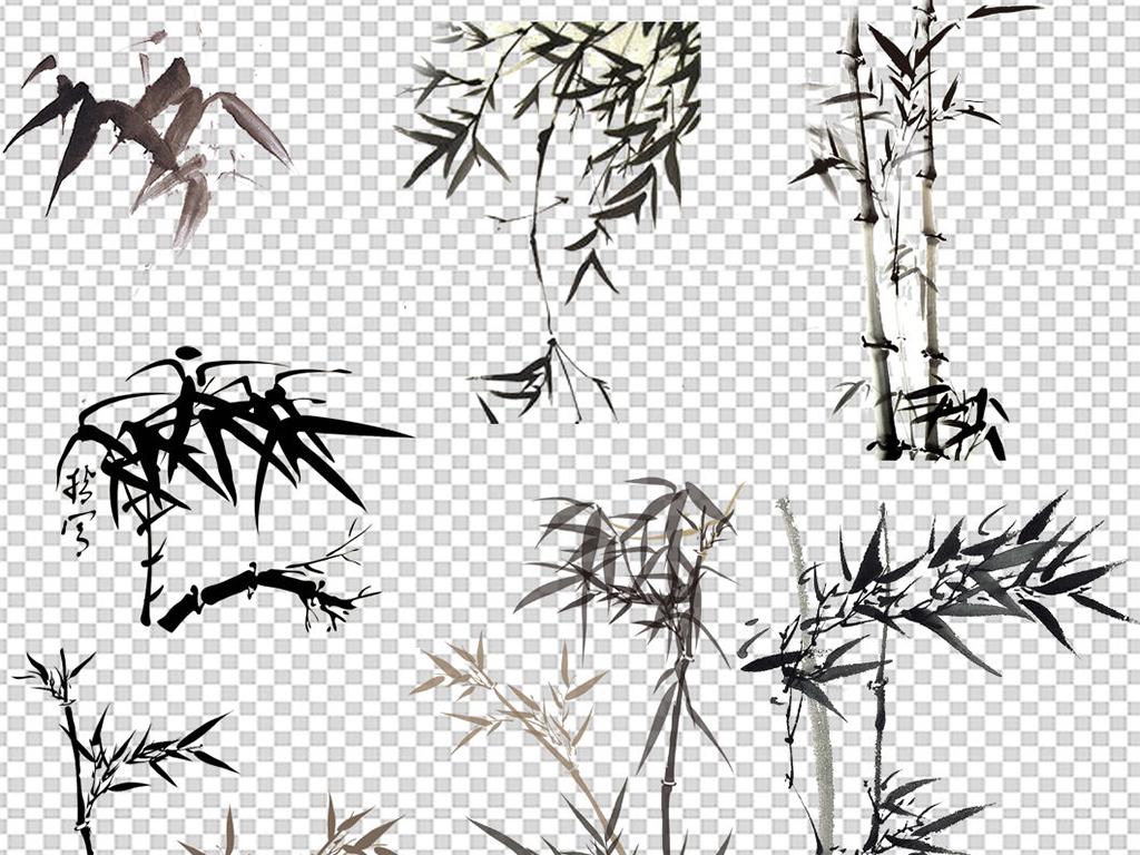 免扣元素 花纹边框 中国风边框 > 中国风水墨山水水墨竹子素材  素材
