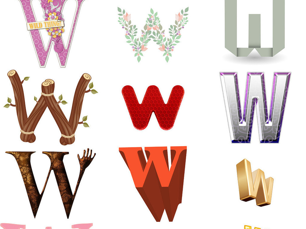 ps英文字母w艺术字体设计2