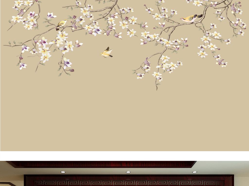 新中式手绘花鸟图(图片编号:16705823)_手绘电视背景