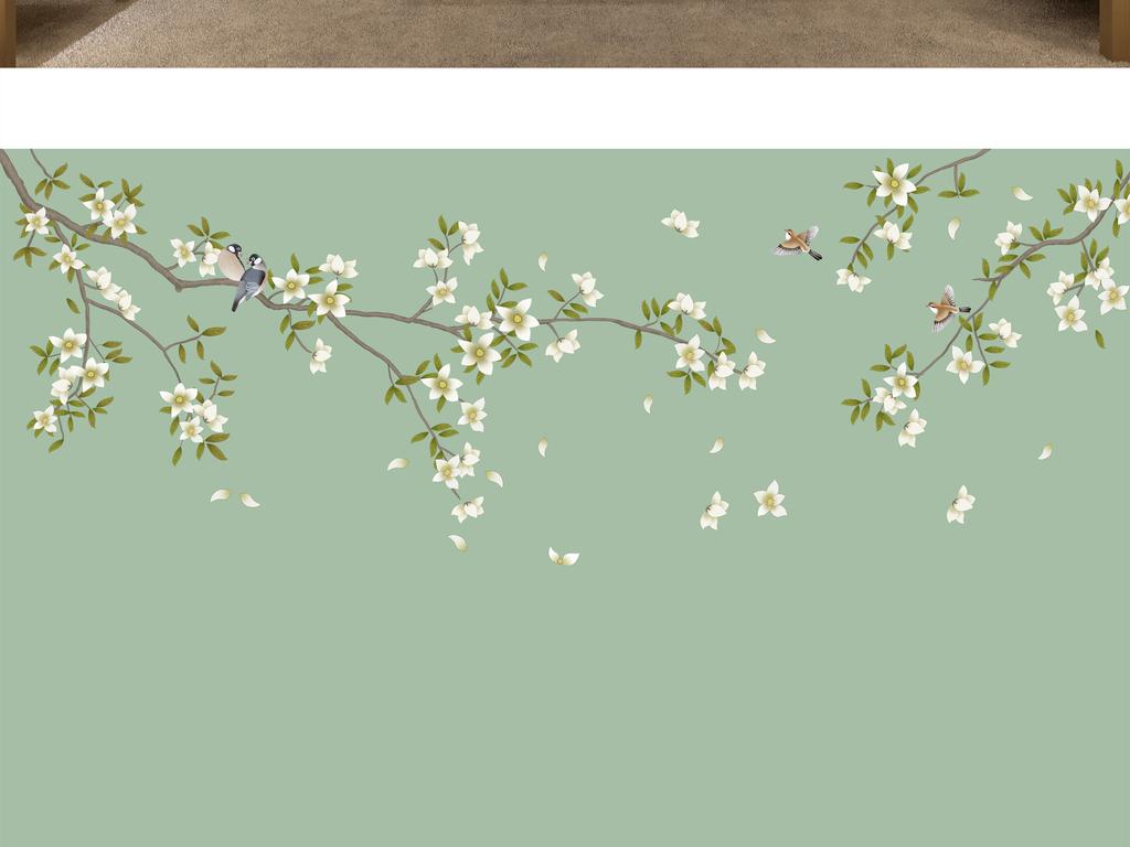新中式手绘花鸟背景墙