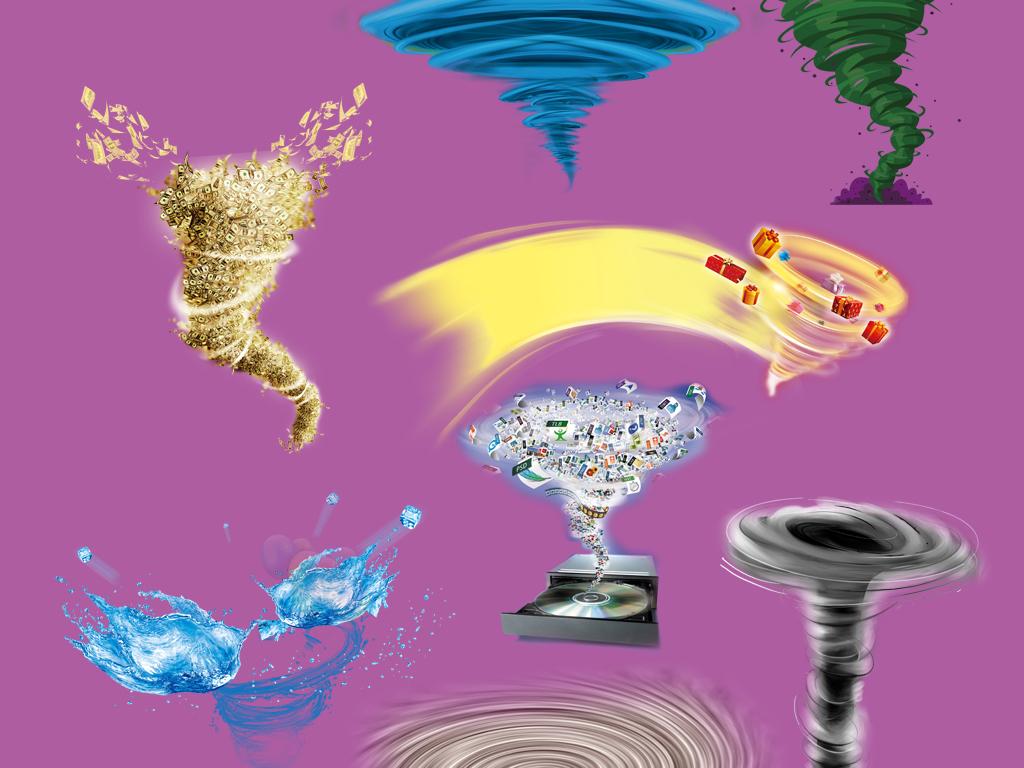 卡通手绘龙卷风旋风png海报素材