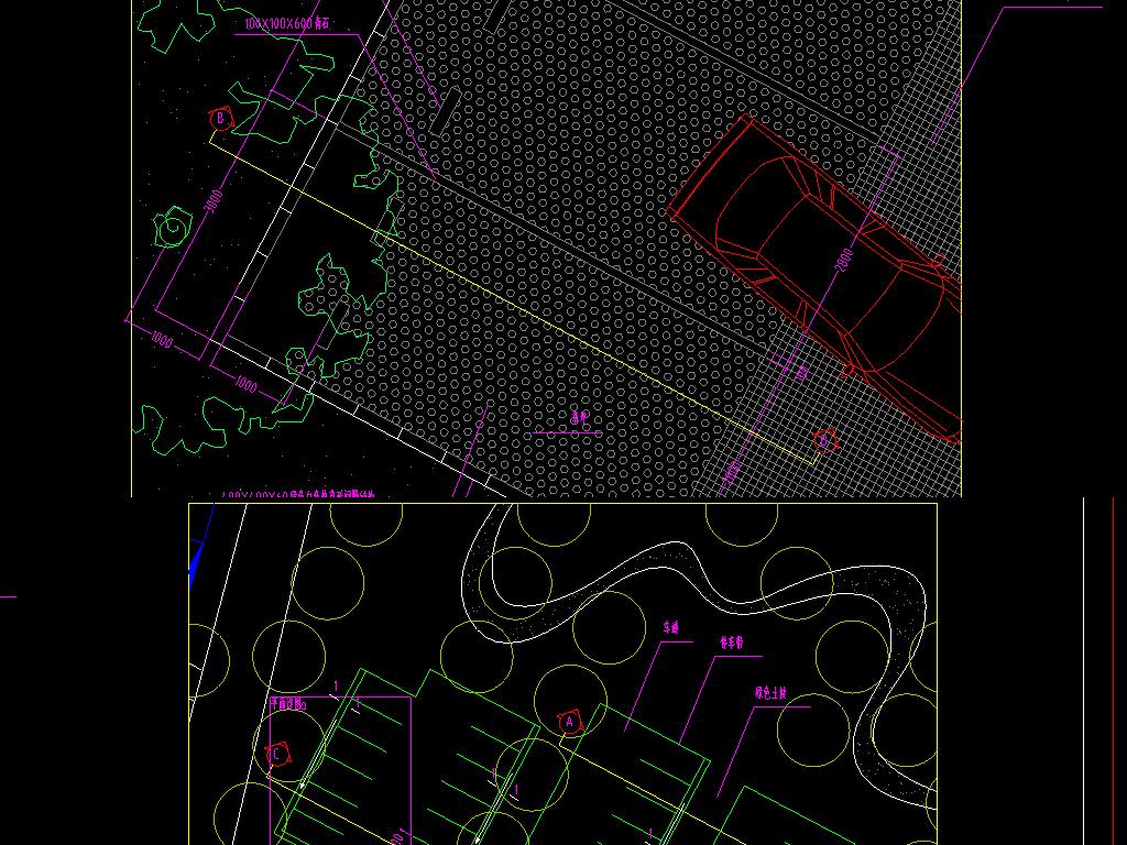 施图宾馆停车场cad结构示意图医院地下停车场cad详图停车场布局规划图