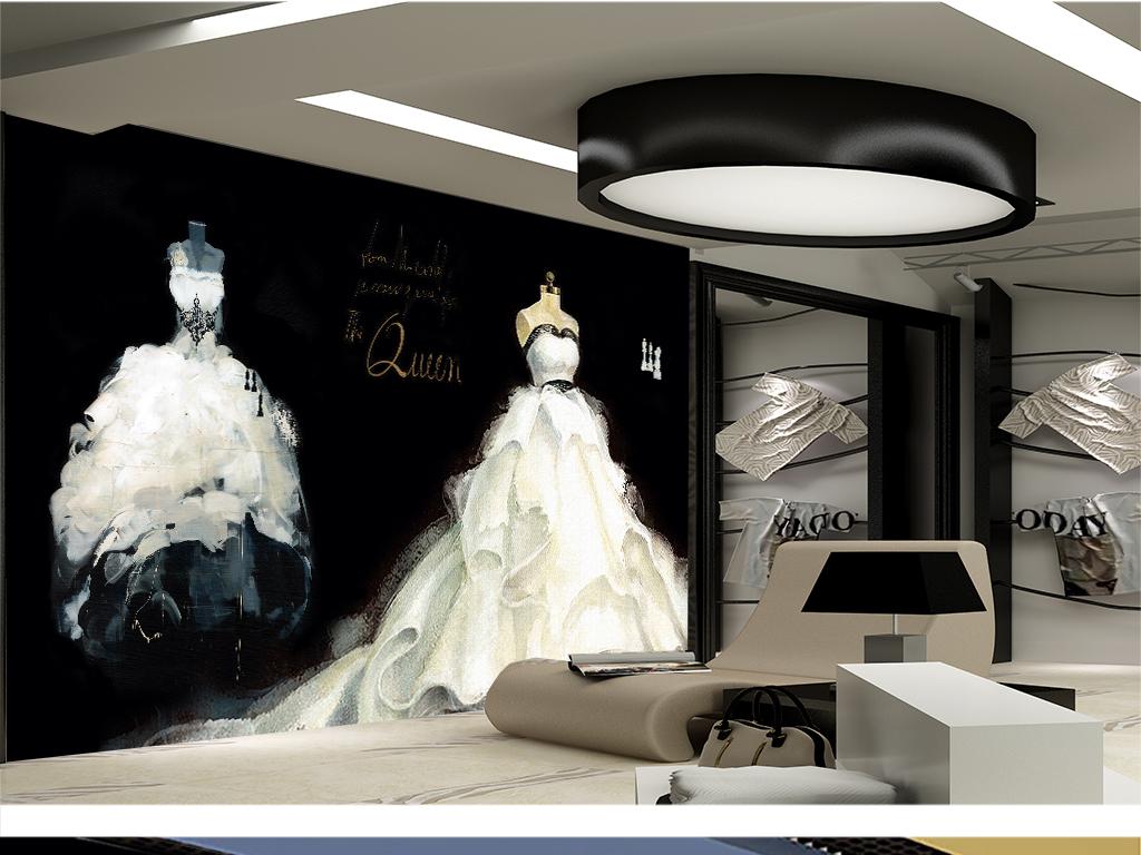 时尚复古黑白油画手绘婚纱大型背景墙1