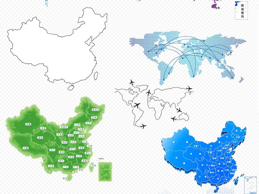 手绘矢量中国地图世界地图科技地图背景图片素材_模板
