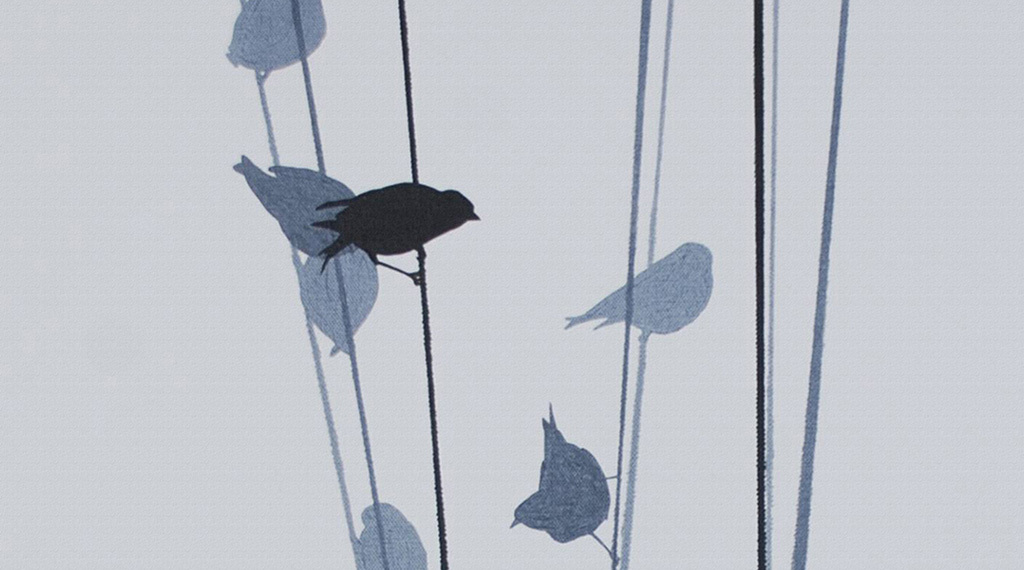 现代简约电线杆上小鸟栖息动物绘画装饰画图片