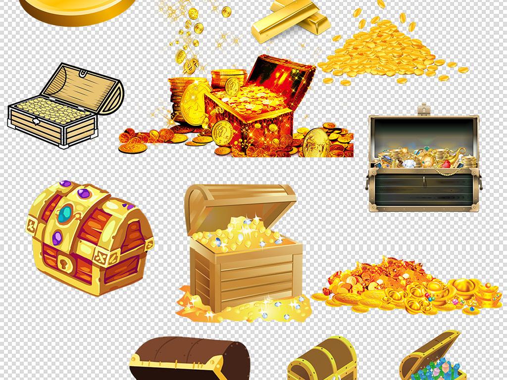 金色的箱子宝盒金币宝箱金银珠宝png素材图片