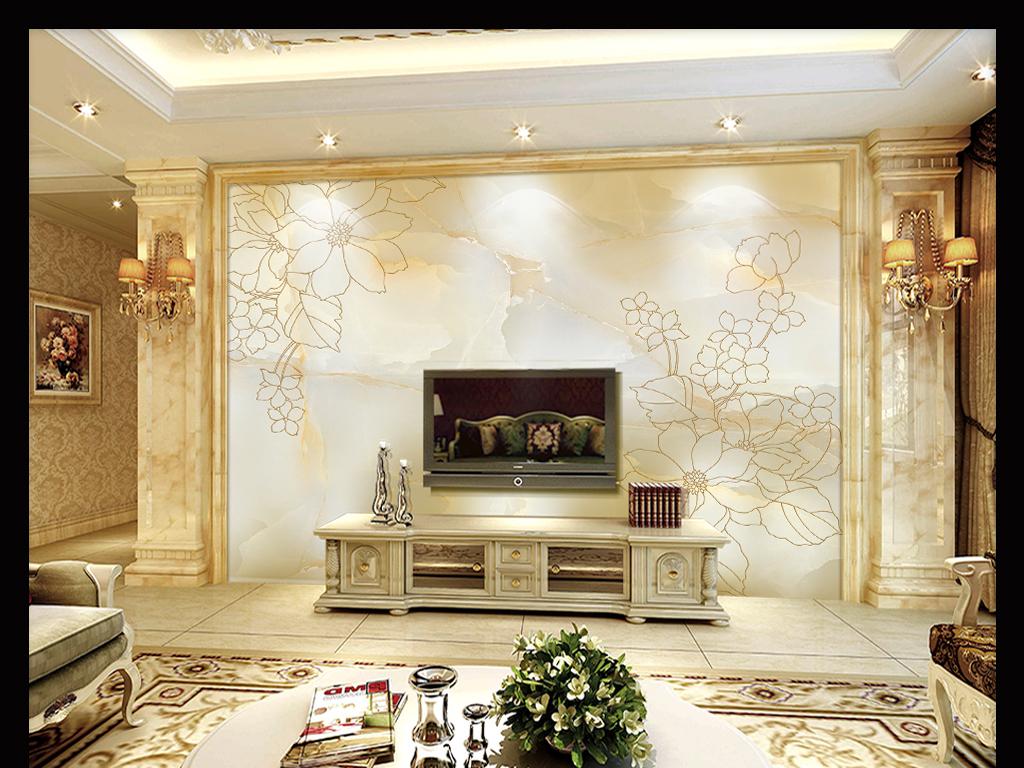 影视墙欧式客厅电视墙现代客厅沙发背景墙壁纸墙纸墙布花卉花纹石纹图片