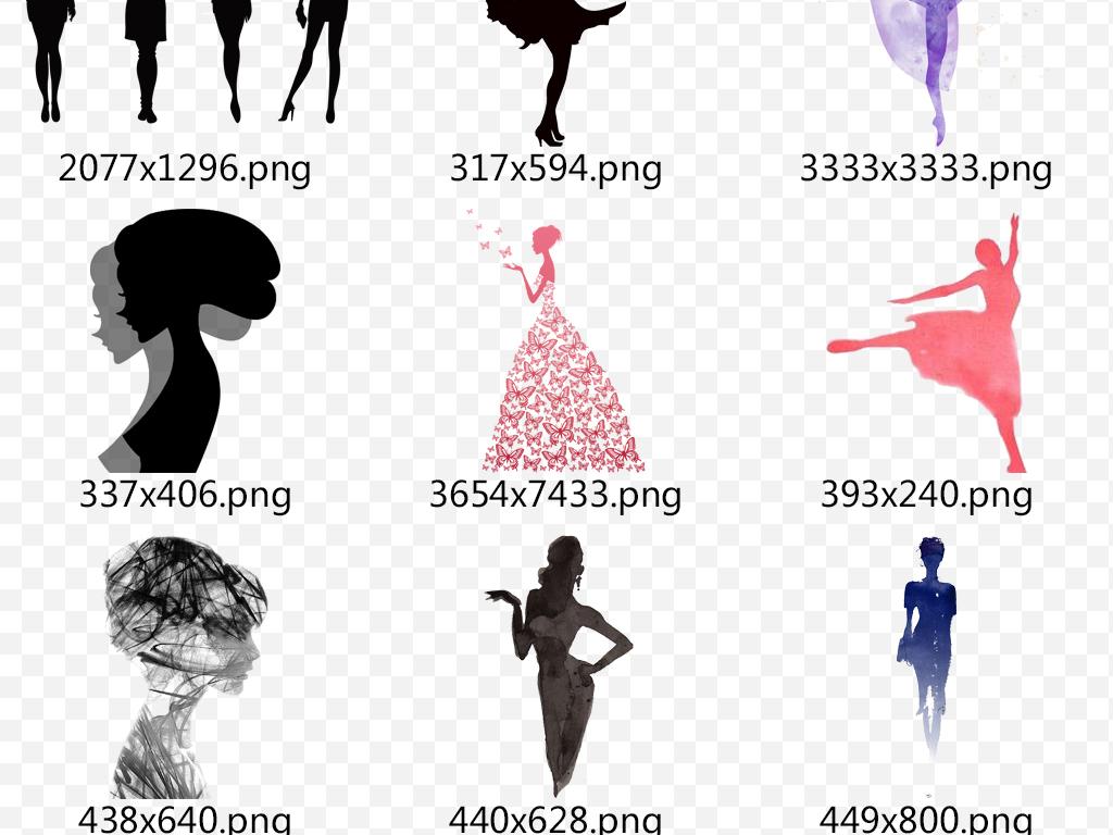 卡通手绘女人剪影png透明海报设计元素