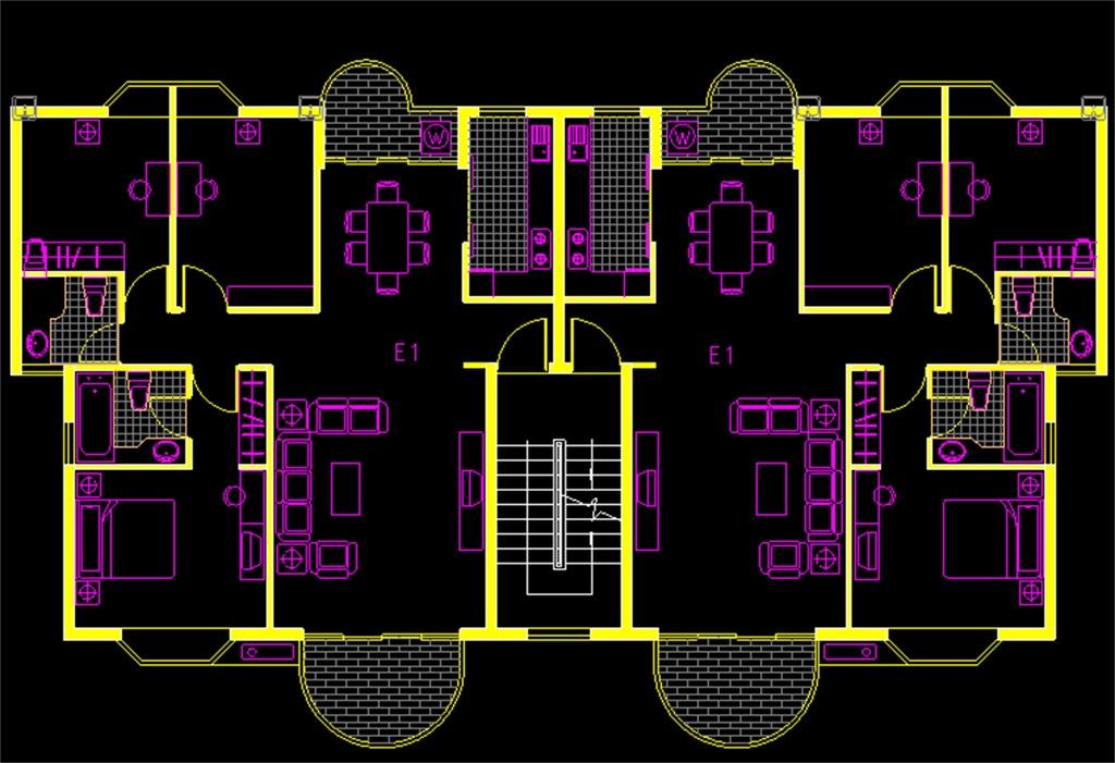 塔式户型cad平面图