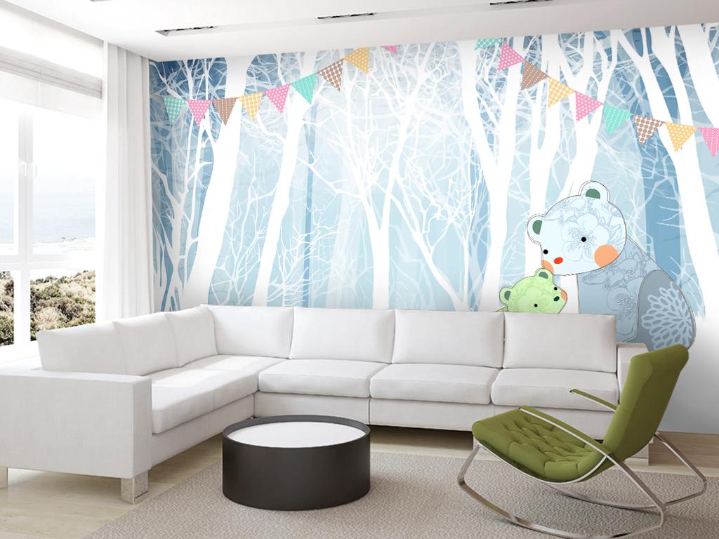 北欧手绘树林可爱熊熊母子情深儿童房背景墙