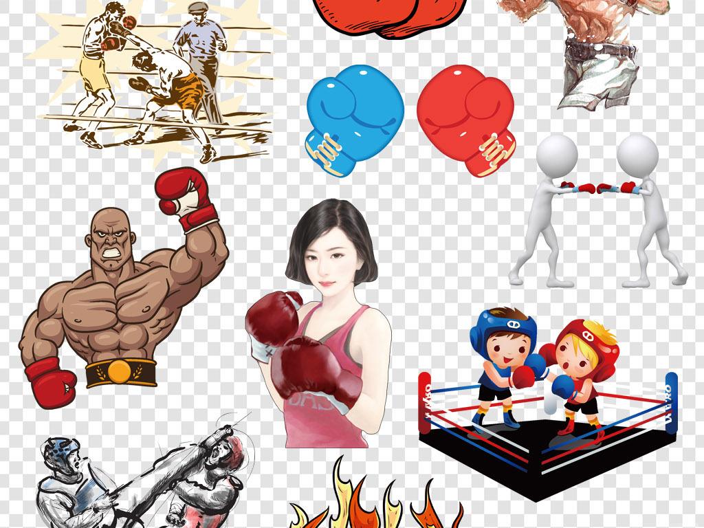 卡通手绘拳击搏击人物png海报素材