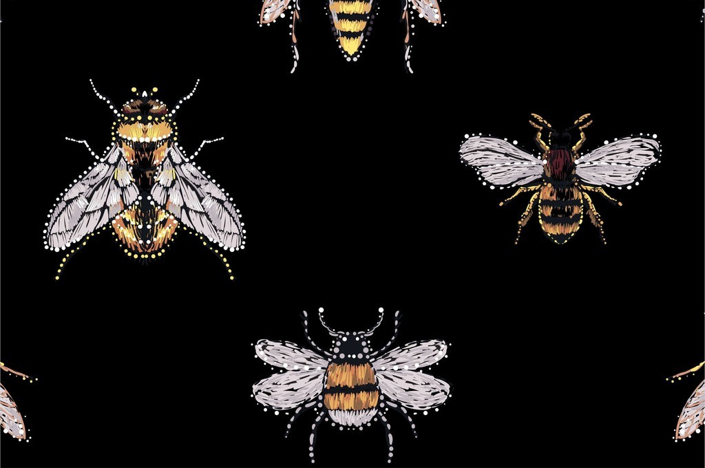 卡通动物昆虫图案蜜蜂苍蝇蚊子图案印花