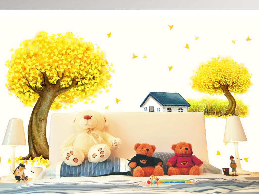 手绘唯美银杏树自行车房子墙贴电视背景墙