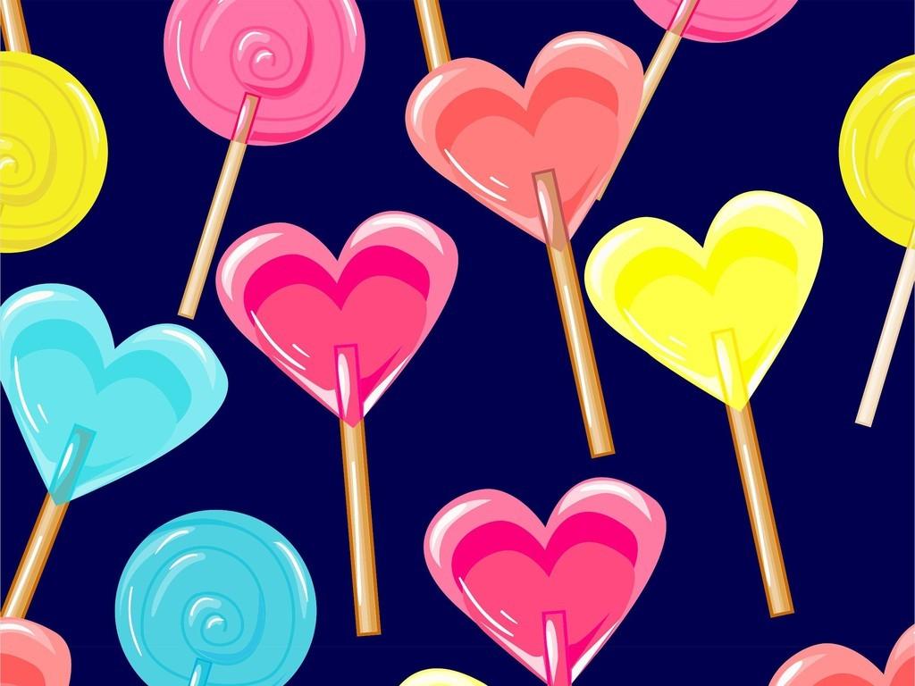 几何爱心图案美食零食棒棒糖卡通图案印花