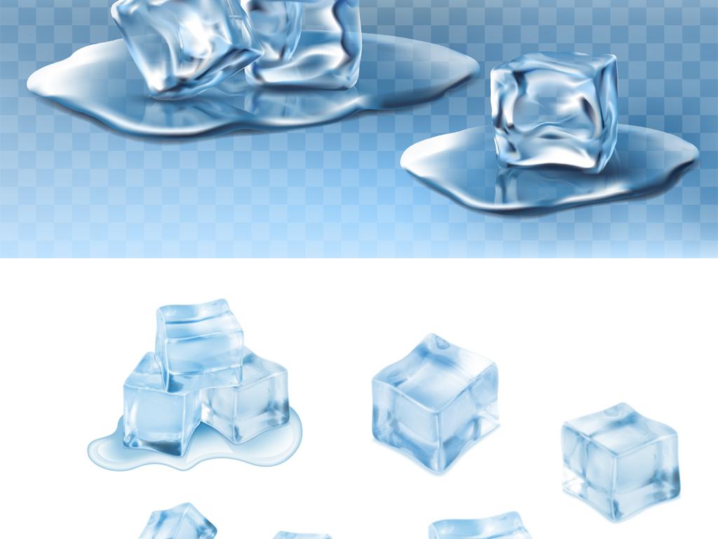 eps)卡通手绘融化的冰块                                  冰水海报