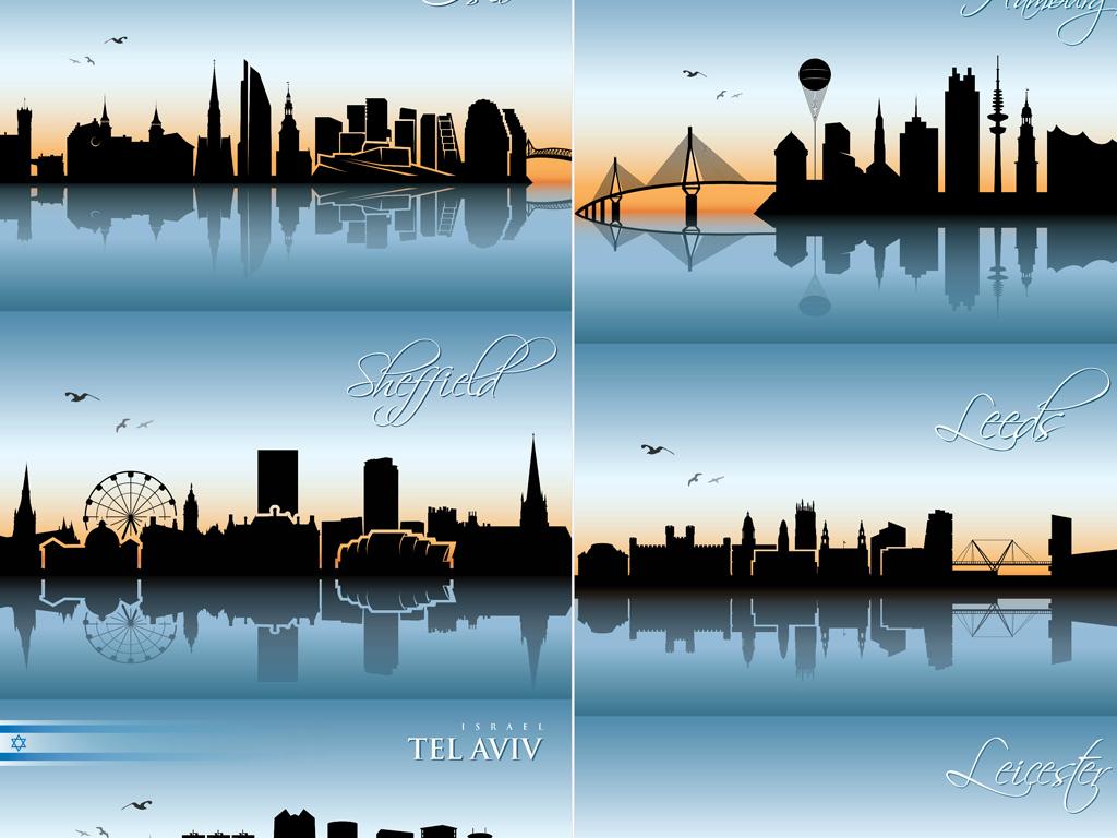 世界城市建筑景观剪影天际线矢量素材