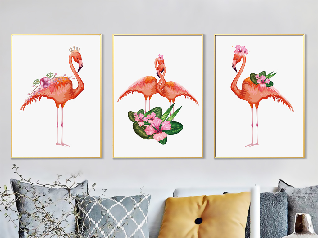 北欧火烈鸟装饰画无框画北欧动物图案装饰画