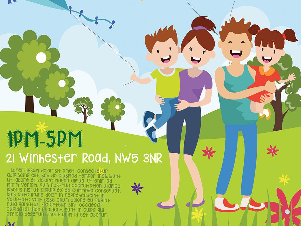 清新手绘可爱卡通家庭聚会户外活动ps海报