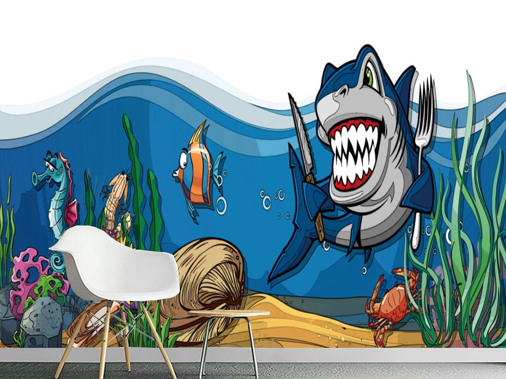 背景墙|装饰画 电视背景墙 手绘电视背景墙 > 卡通海底世界鲨鱼客厅