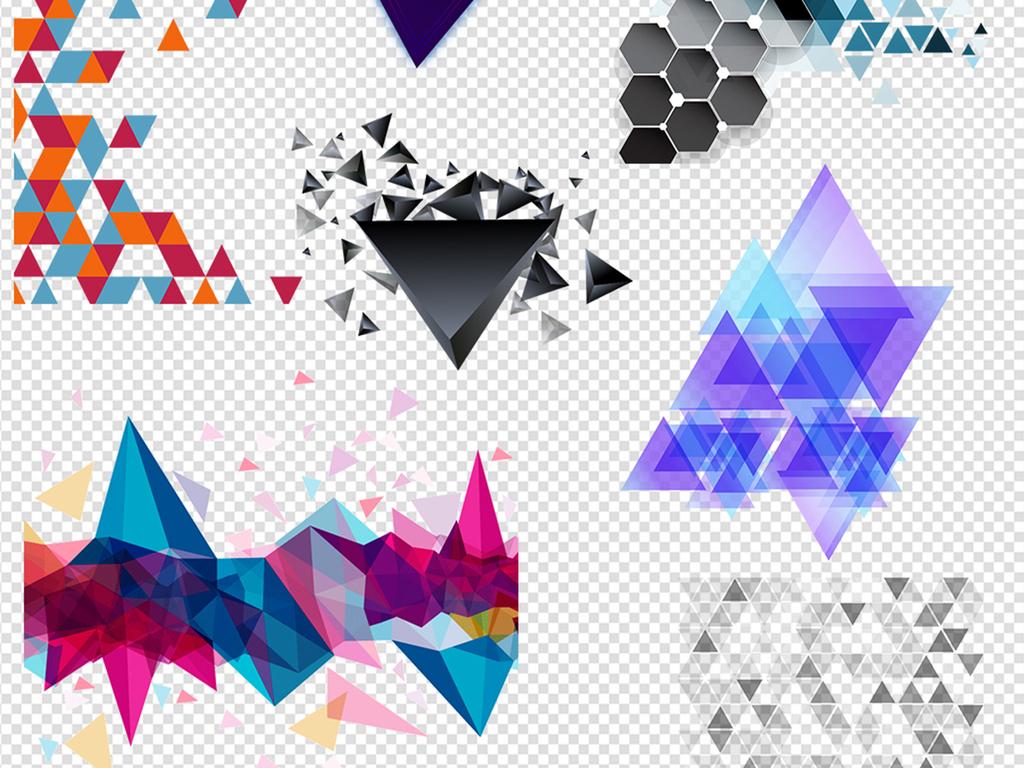 几何漂浮三角形立体三角形碎片彩带线条促销元素